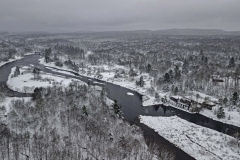 Snowy afternoon over McKeever Dam on the Moose River