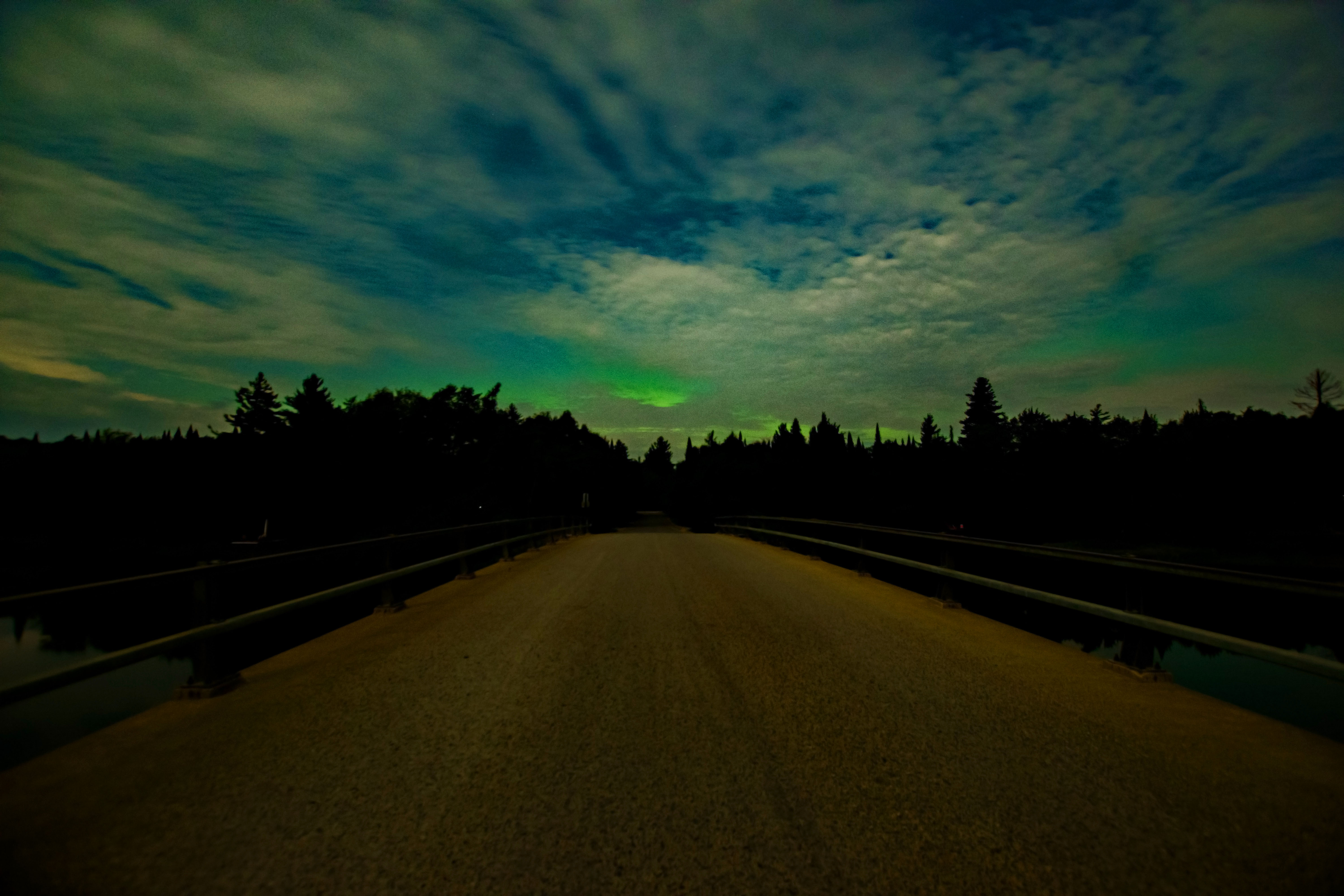 Northern Lights over Greenbridge in Old Forge, NY 3