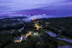 Aerial view of Old Forge at dusk with fog