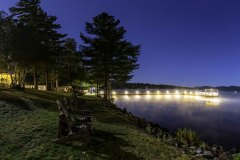 Panoramic shot of The Woods Inn at Night in Inlet, NY