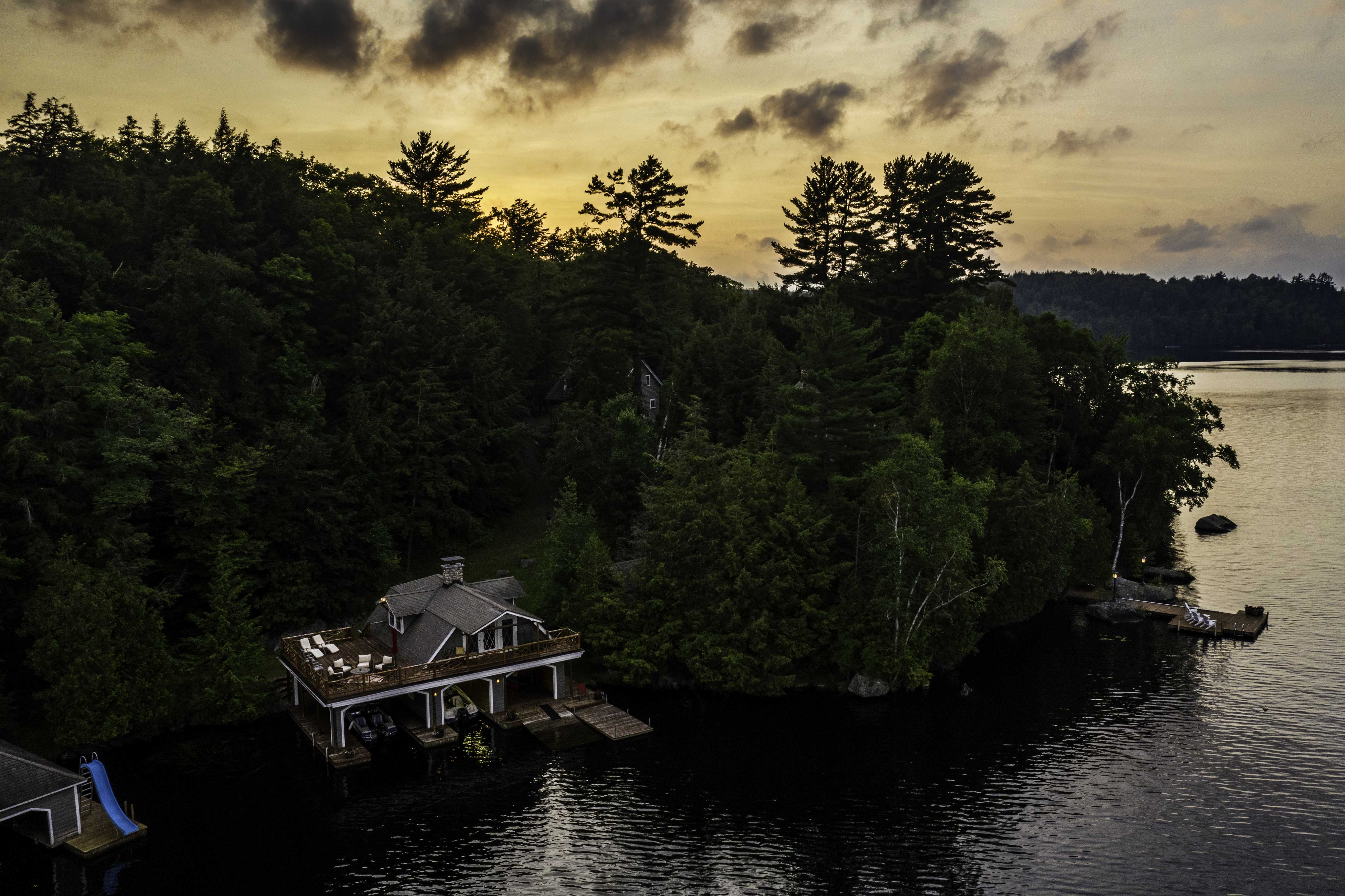 Twilight Real Estate drone photography shoot in Upper Saranac Lake, Tupper Lake, NY