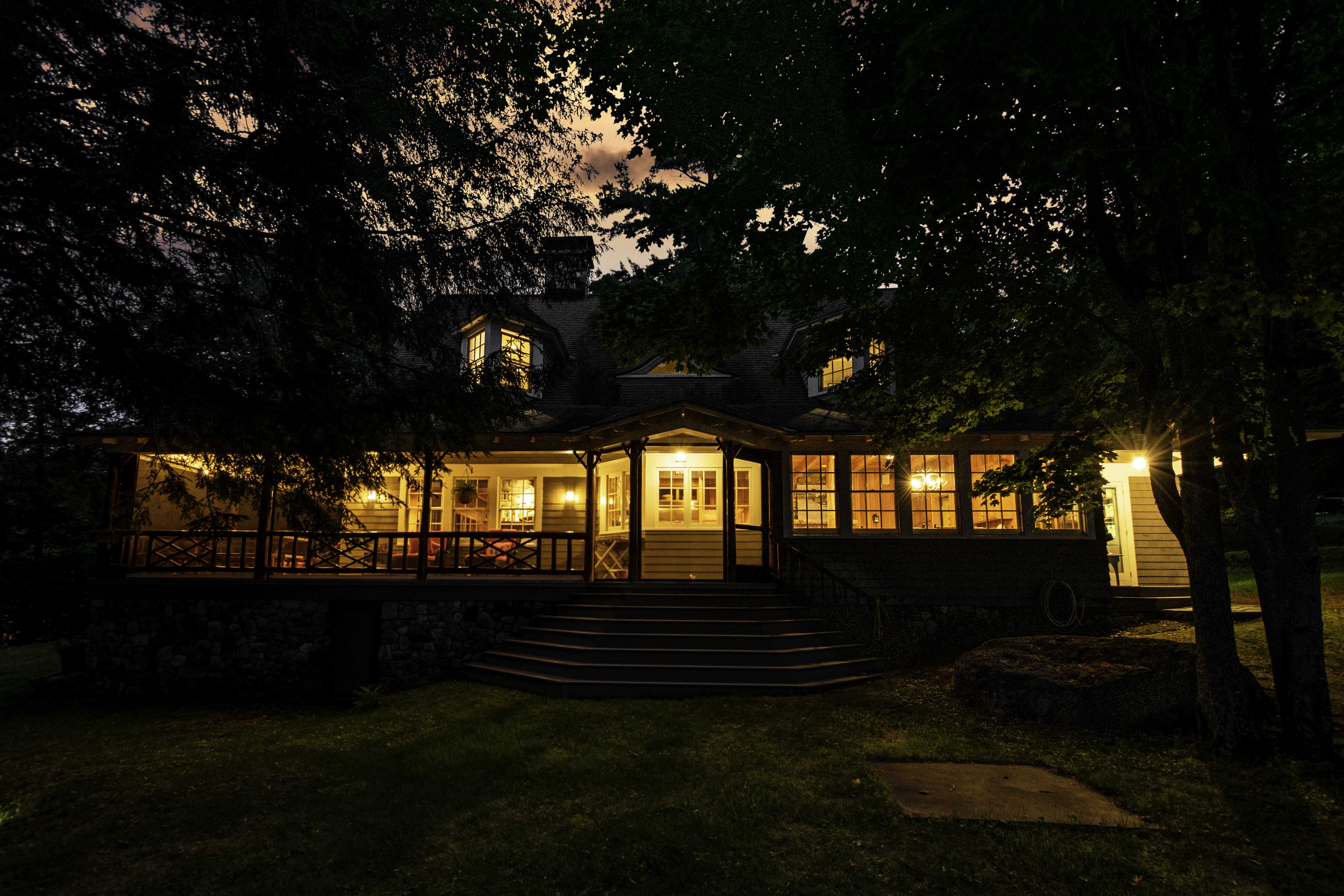 Twilight Real Estate Photoshoot of property for sale in Upper Saranac Lake in Tupper Lake, NY