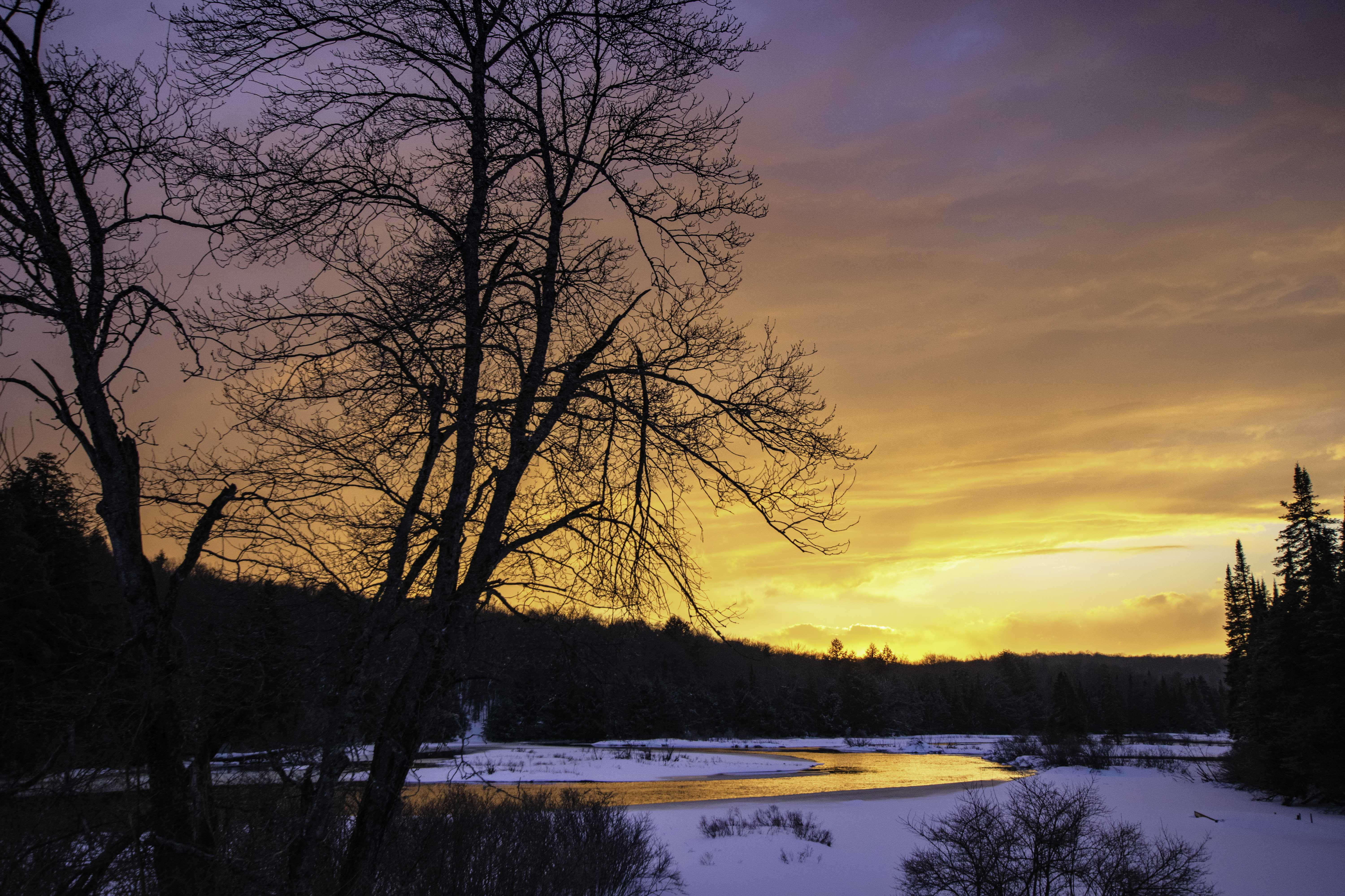 Sunset over Moose RIver from Greenbridge with tree in Thendara NY