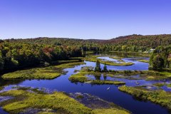 Morning flight over Moose River in Thendara, NY near Green Bridge with drone