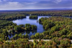 Aerial view of White Lake, NY in the Fall from Drone